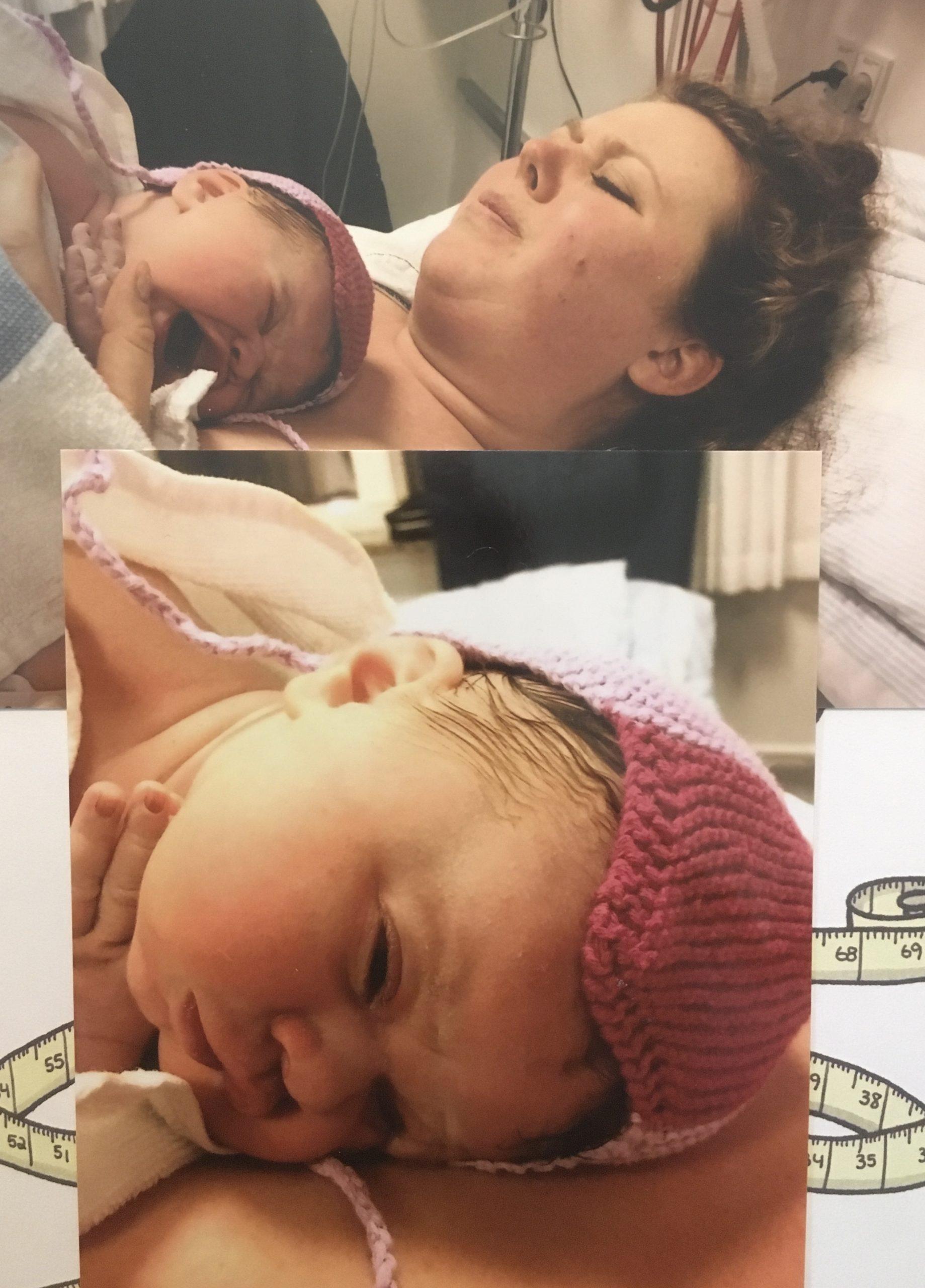 Kristina i hospitalsseng med nyfødt datter